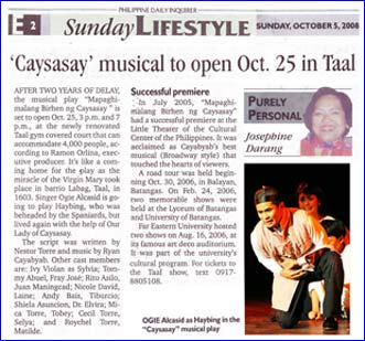 Caysasay musical to open Oct 25